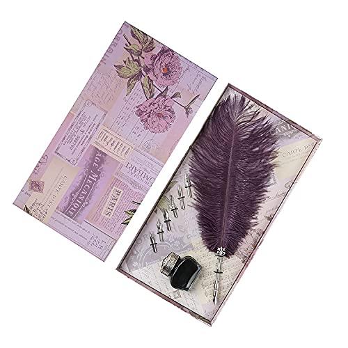 asx strimlat papper för presentförpackning reservoarpennor set bröllop inloggning speciell penna bröllop presentförpackning affärsgåvor dipppenna stationär skolmaterial x lådor presentkort (färg: Lila)