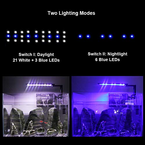 WOTERZI LED Aquarium Light Clip on Fish Tank Light with Adjustable Bracket for 14 - 22 Inch Freshwater Fish Tank & Aquarium, White and Blue LEDs