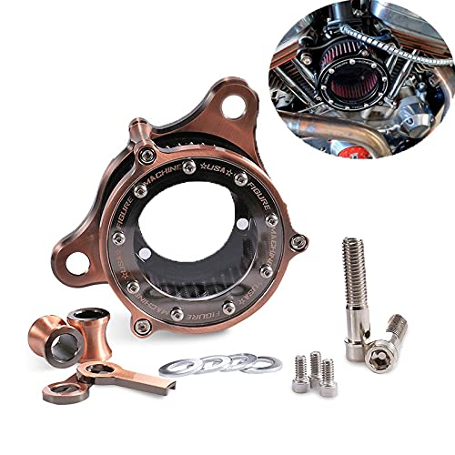 Clear bronzed aluminum CNC air filter system kit, Compatible with the Harley family of locomotives - Sportster XL883 XL883N XL883R XL883P XL1200 XL1200L XL1200X Iron 883 Forty Eight XL1200X 2004-2016