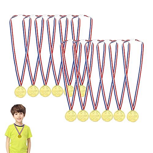 Gewinner Medaillen Gold,Goldmedaillen für Kinder,Medaillen Kindergeburtstag,Medaillen Metall,Gold Medaillen Kinder,Kinder Medaille,Medaillen Fussball,für Kinder Sport Party, Wettbewerb, Preise(12pcs))