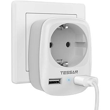 TESSAN Enchufe USB pared, Ladron Enchufes (4000W) con Doble USB y ...