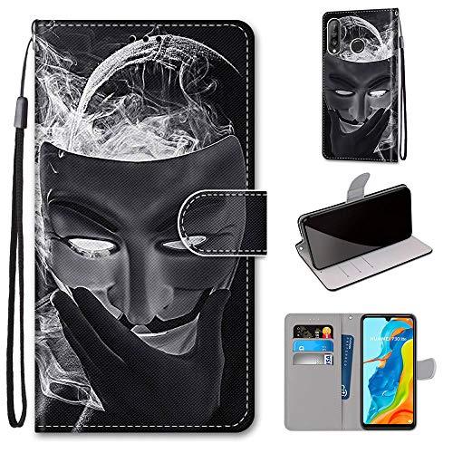 Miagon Flip PU Leder Schutzhülle für Huawei P30 Lite,Bunt Muster Hülle Brieftasche Case Cover Ständer mit Kartenfächer Trageschlaufe,Maske