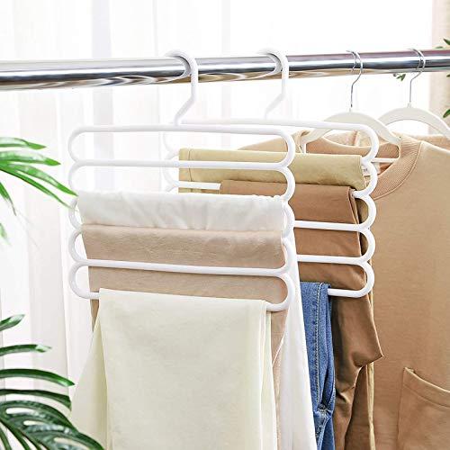 Gruccia per pantaloni, appendiabiti 5 strati, appendiabiti multi-strato appendiabiti organizer per armadio, organizer per armadio, organizer e resistente, adatto per pantaloni, sciarpe, cravatte, 3Pz