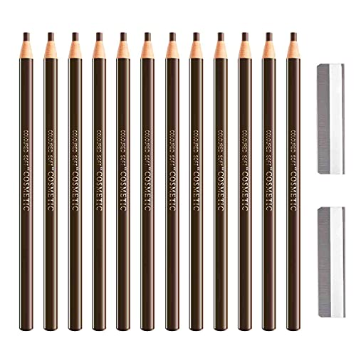 Sumeitang 12 Pcs Gray Brown Eyebrow Pencil Set,Pull Cord Peel-off Brow Pencil For Marking, Filling And Outlining, Tattoo Makeup And Microblading Supplies Kit-Waterproof and Durable Permanent Eyebrow Liners