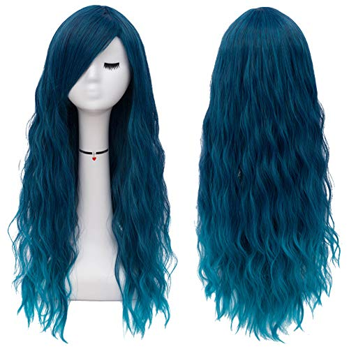 Mildiso Blue Wigs for Women Long Curly Wavy Blue Hair Wig Natural Cute...