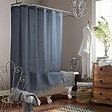SDLIVING Lance grauer Duschvorhang mit Polyester-Quasten, wasserdicht, handgefertigt, für Badezimmer, Fransenbordüre aus Stoff, 183 x 183 cm (B x H)