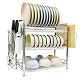 SPLAKER Three Tiers Dish Drying Rack - Multi-Functional Dinnerware and Kitchen Tool Storage