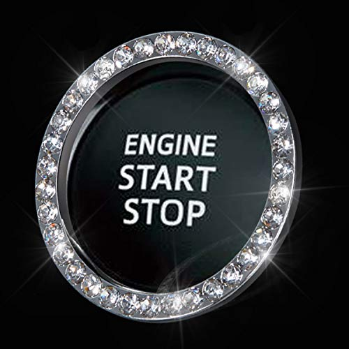 Bling Car Crystal Rhinestone Ring Emblem Sticker, Car Interior Decoration, Bling Car Accessories for Women, Push to Start Button, Key Ignition Starter & Knob Ring (Silver, 1 Row Rhinestones)