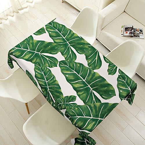BH-JJSMGS Tischdecke aus Baumwolle und Leinen, rechteckige grüne Blätter FF 140CM * 140CM