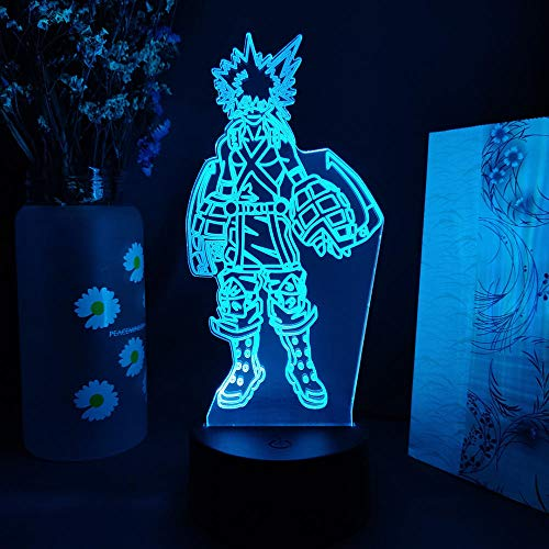 Lámpara de ilusión 3D Anime My Hero Academia7 lámpara de escritorio que cambia de color arte hogar chico dormitorio decoración para dormir regalos de fiesta de vacaciones-16 color remote control