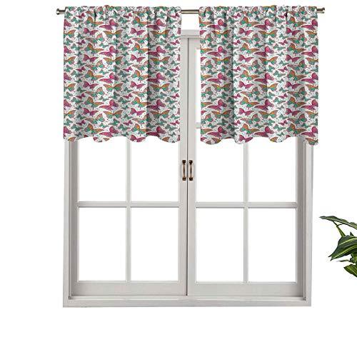 Hiiiman Cenefa de cortina con aislamiento térmico para barra, ilustración artística de mariposas con alas abstractas coloridas, juego de 2, 137 x 61 cm para dormitorio, baño y cocina