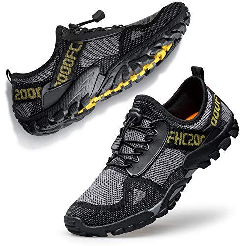 Ritiriko Barfußschuhe Herren Damen Traillaufschuhe Laufschuhe Wanderschuhe Atmungsaktiv für Freizeit Yoga Gym Sport Grau Schwarz 47