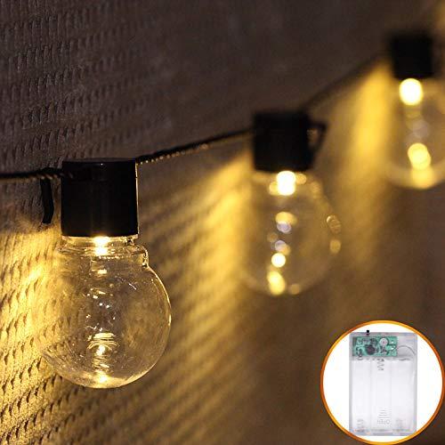 Lichtketting, decoratief, werkt op batterijen, voor slaapkamer, buiten, festival, decoratie buiten, werkt op batterijen, ketting met lichtketting, kleur, 1,2 m, 10 lampen