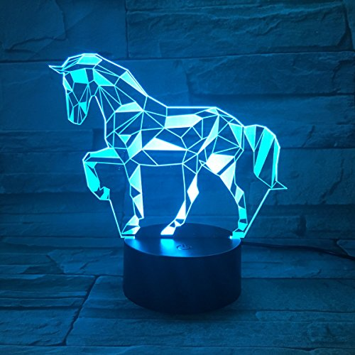 3D LED Illusion Lamp Night Light, EASEHOME Optical Bedside Table Night Lights Illuminating Kids Lamp 7 Colour Changing Touch Button 1.5M USB Cable Decoration Desk Lamps, Horse