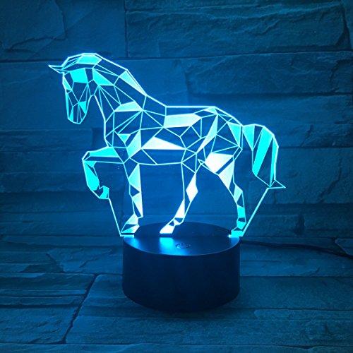 3D Illusion Lampe LED Nachtlicht, EASEHOME Optische 3D-Illusions-Lampen Tischlampe Nachtlichter 7 Farben Berührungsschalter Schreibtischlampe mit 150cm USB-Kabel Kinder Nachtlampe, Pferd