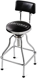 Craftsman Chrome and Vinyl Hydraulic Stool - Comfortable Swiveling Barstool for Home Bar Shop or Garage (Black)