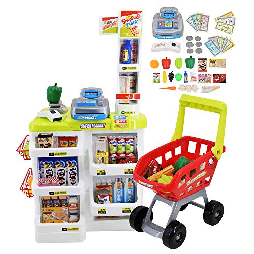 deAO Set Bambini con Carrello per la Spesa e Oltre 20 Accessori per Cibo da Gioco Inclusi, Multicolore, SPM-W