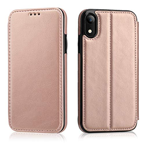 iPhone XR Flip Case with Wallet Card Holder, OT ONETOP Premium PU Leather Hidden Magnetic Closure Kickstand Protective Cover Case Compatible with iPhone XR 6.1 Inch - Rose Gold