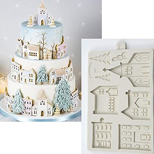 PowerBH Christmas Castle House DIY handgemachte Kuchenform Fondant Clay Silikonform Kuchen Dekoration