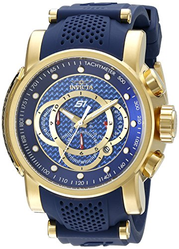 Invicta 19330 Men's S1 Rally Chrono Blue Dial Yellow Gold Steel & Blue Silicone Strap Watch