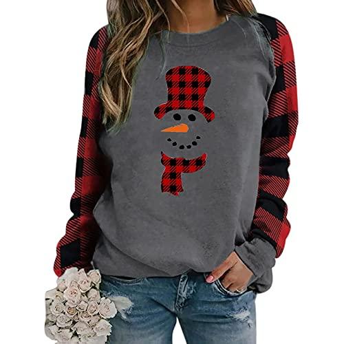 Camiseta de manga larga para mujer con estampado de flores, cuello redondo, para otoño, estilo vintage