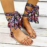 Sandalias Planas Verano Mujer Estilo Bohemio Plano Sandalias con strass Elegantes Flip Flop Playa Moda Chanclas Talla 35-43,Naranja,35