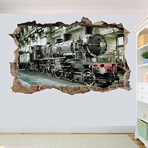 TREN DE VAPOR MOTOR LOCOMOTORA ETIQUETA DE PARED REVESTIDA EN DECORACIÓN DE LA HABITACIÓN MURAL- 3D arte mural calcomanía - 60x90cm