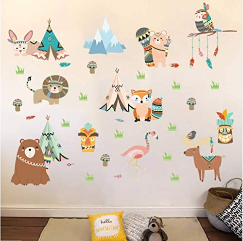 Zlxzlx Tribal Dieren Wild Tent Camping Cartoon Muurstickers Beer Fox Flamingo Uil Kinderkamer Slaapkamer Decoratie Verwijderbare Decals