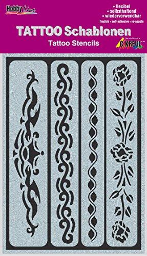 Kreul 62140 Lot de 4 bandes de pochoir pour tatouage, 14,8 x 10,4 cm, réutilisables, look tribal, fête à thème, carnaval