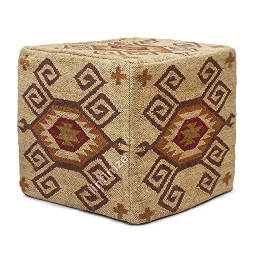 iinfinize - Puf otomano de yute de lana de 18 pulgadas tejida a mano para puf Kilim Pufs vintage de yute étnico de yute puf de lana y yute decorativo para sala de estar