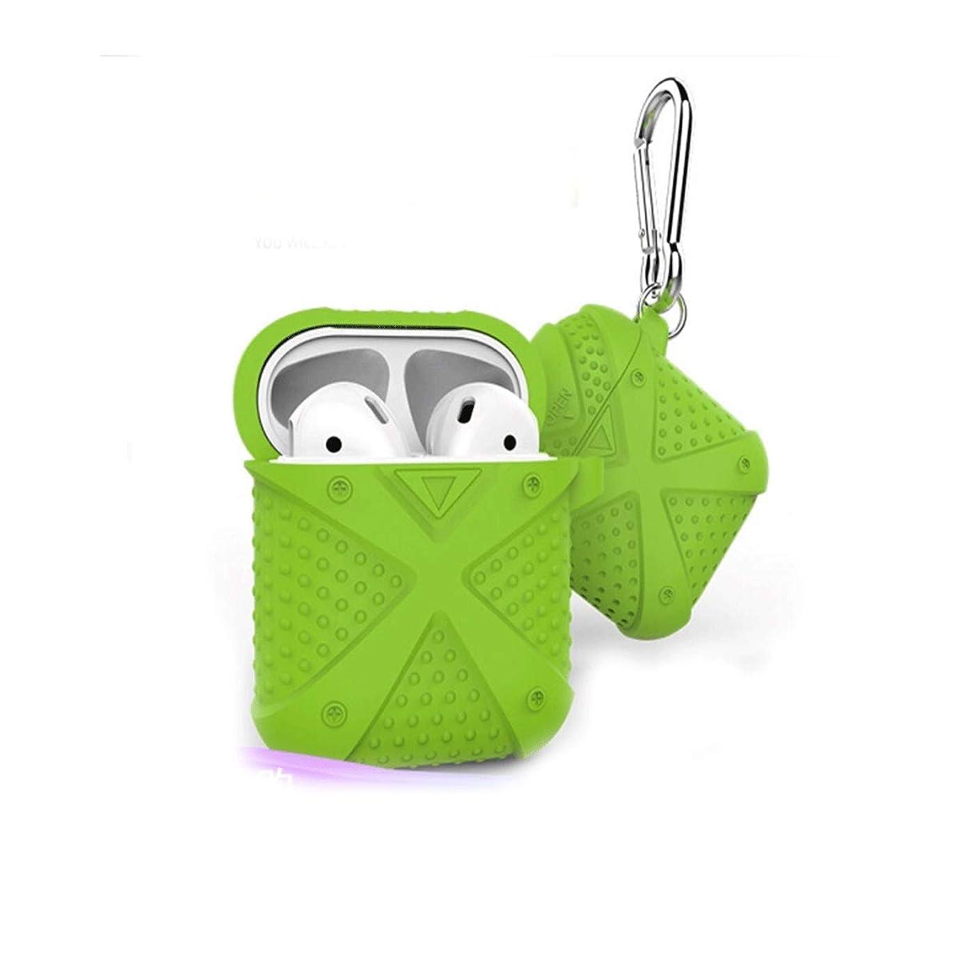 想定する異形スキル8HAOWENJU フック付きAirpodsケース、Bluetoothワイヤレスヘッドセットシリコンスリーブ、紛失防止ストラップ収納ボックス、 (Color : ピンク)