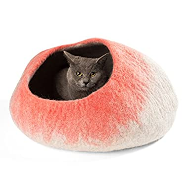 Twin Critters Handcrafted Cat Cave Bed (Large) I Ecofriendly Cat Cave I Felted from 100% Natural Merino Wool I Handmade Pod for Cats and Kittens I Warm and cozy cat bed (Coral)