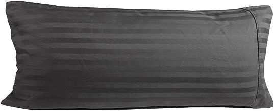 Ocean Deal Body Pillowcase 21x60 Pillow Case Dark Grey Stripe Set of 2 Super Soft 100% Natural Cotton 550 Thread Count Luxury Quality- Zipper Closer Easily Fits 20x54 Pillow