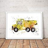 JXMK Acuarela decoración de la habitación de los niños camión de volteo nórdico Excavadora Bulldozer Cartel decoración del hogar Pintura Lienzo 50x70cm