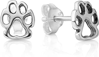 925 Sterling Silver Tiny Little Paw Print Dog Puppy Cat Pet Lovers Open Post Stud Earrings 8 mm