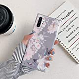Uposao Compatibile con Samsung Galaxy Note 10 Plus Custodia per Telefono Rose Soft Shell in TPU Laser Galvanico Caso con Fiori e Foglie Gomma Gel Backcover, Cassa Placcatura,Grigio