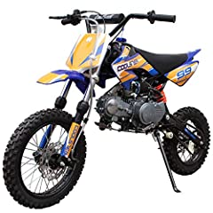"Moto Pro brings 125cc Gas Dirt Pit Bike. Semi-auto Clutch is the perfect choice for riders stepping into the 125 class. 14"" front and 12"" knobby rear wheels get ready for great traction on a variety of tracks and terrain. Front and Rear Hydraulic Dis..."