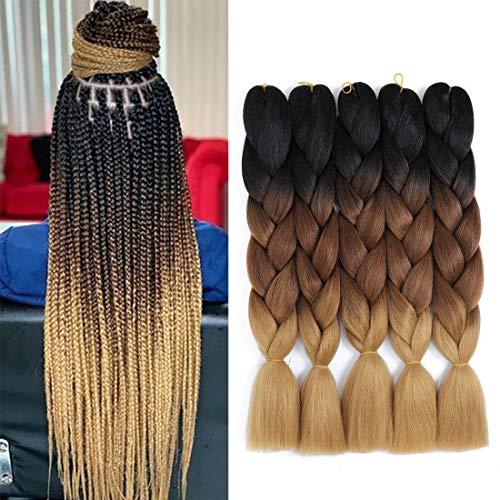 Jumbo Braid 5 pcs / lot 24 pouces extensions de cheveux synthétiques pour tressage au crochet (Black Dark Brown Light Brown)