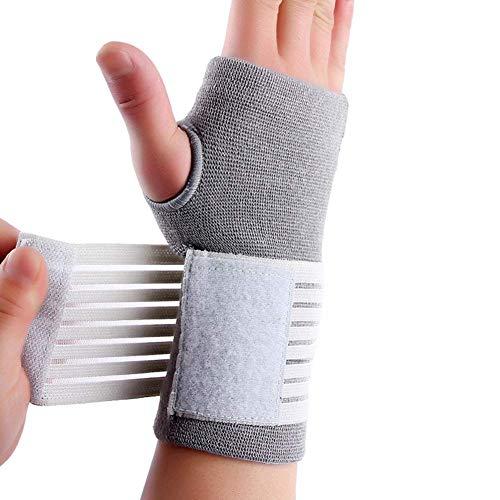 yangGradel 1Pc Hand Palm Handgelenkstütze Verstellbar Kompression Gurt Elastisch für Sport Bowling Handgelenkstütze Atmungsaktiv Handgelenk Hosenträger Bietet Hand Stütze - Grau