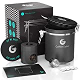 Coffee Canister - Coffee Gator Stainless Steel Coffee Container - Fresher Beans and Grounds for Longer - Date-Tracker, CO2-Release Valve, Measuring Scoop and Travel Jar - Medium, Gray