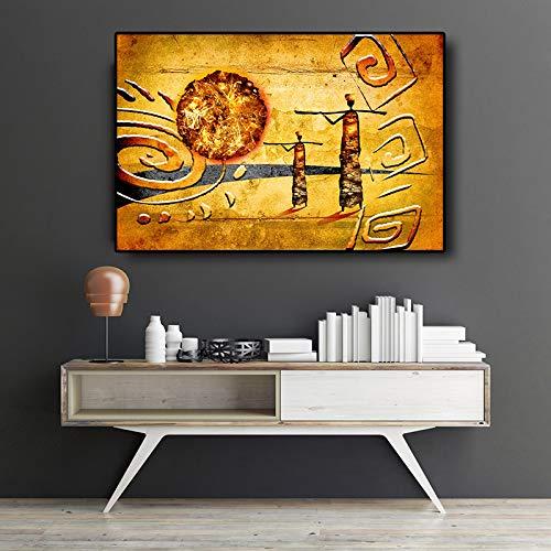 Sanzangtang Afrikaans goud abstract landschap olieverfschilderij canvas poster en drukkunst op fotolijst in de woonkamer muur