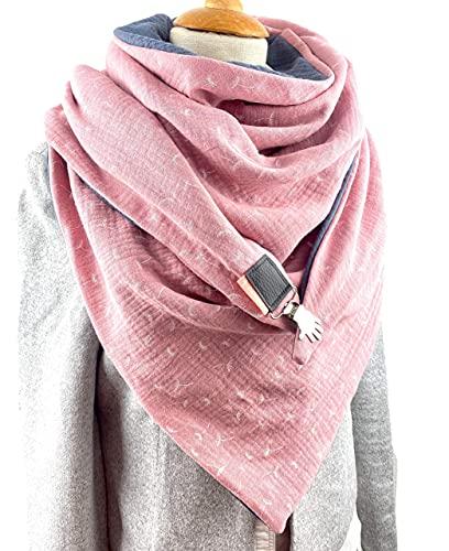 XXL Dreieckstuch, Tuecherfee süßes grau/rosa Pusteblume Musselin Halstuch mit Verschluss, perfekt wendbar und auffällig schön, auch als Stola, Poncho