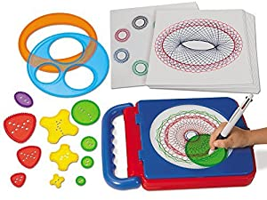 """All the tools kids need to make amazing spiral artwork Everything snaps inside the case, which doubles as a work surface! Encourages creativity and self-expression 12"""" carrying case includes 14 design tools, a 4-color pen and 20 sheets of paper For a..."""