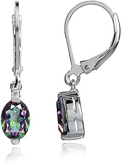 Petite 7x5mm Oval Shape 925 Sterling Silver Leverback Dangle Earrings