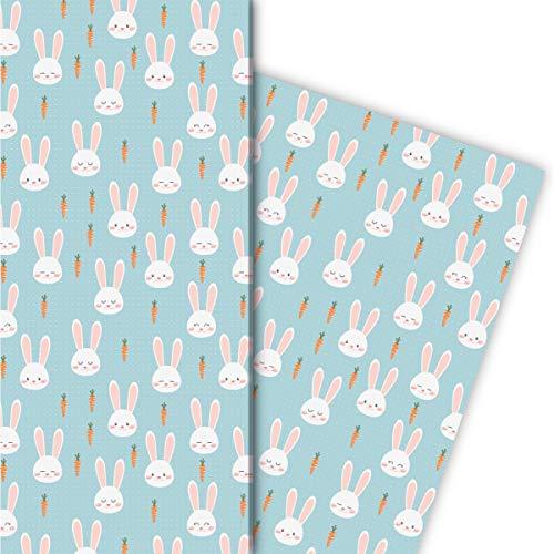 Kartenkaufrausch Süßes Häschen Geschenkpapier Set mit Karotten auf Punkten für edel Geschenk Verpackung 32 x 48cm, 4 Bögen zum Einpacken für Geburtstage, Geburt, Ostern, hellblau