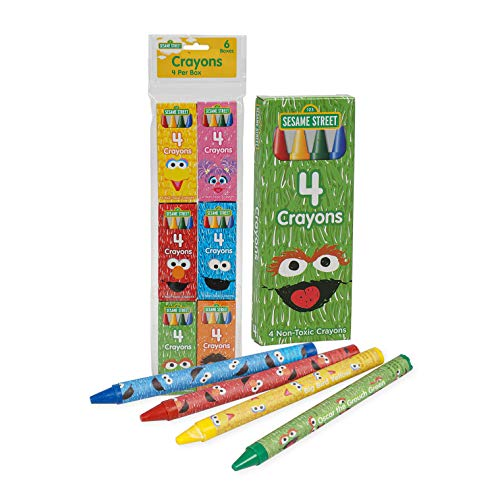 Coloring Books Sesame Street Crayons 6 Pack Restaurants, Party Favors, Birthdays, School Teachers & Kids Coloring Non-Toxic Crayons ss6pk