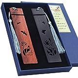 Juego de marcadores de madera hechos a mano, marcadores de página grabados para amantes de los libros, maestros jubilados, colección, mariposa hueca