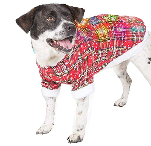 Dog Ugly Sweater Hoodie with Blinking Lights   Christmas Dog Sweater with Bells   Light-up Christmas Dog Sweater for XXLarge Dogs (and Small, Medium Dogs)   Ugly Sweater for Dogs   Size XXL