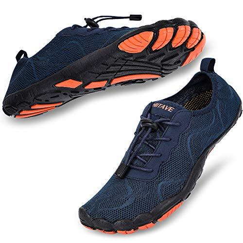 hiitave Men Water Shoes Barefoot Quick Dry for Beach Aqua Swim Pool Diving Surf Sports Walking Sailing Navy 10.5/11 M US Men