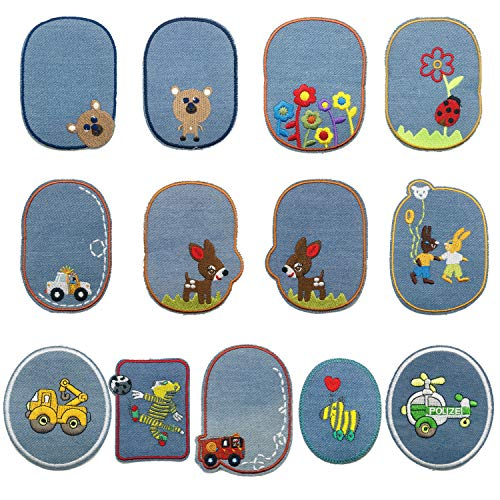 Woohome Flicken Patches, 13 Stück Tier Knie Aufbügeln Patches Jacke Jean Kleidung Denim Patches Aufbügeln Repair Patches Kit